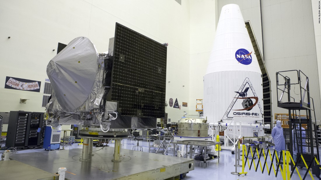 The OSIRIS-REx spacecraft is sealed inside a two-piece payload fairing on August 24. The fairing will protect it during launch.