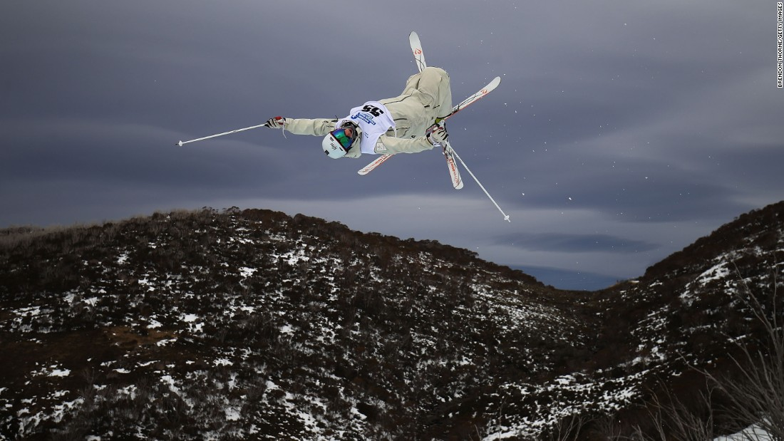 Matt Graham competes in the Australian Freestyle Mogul Championships in Perisher, Australia, on Tuesday, August 30.