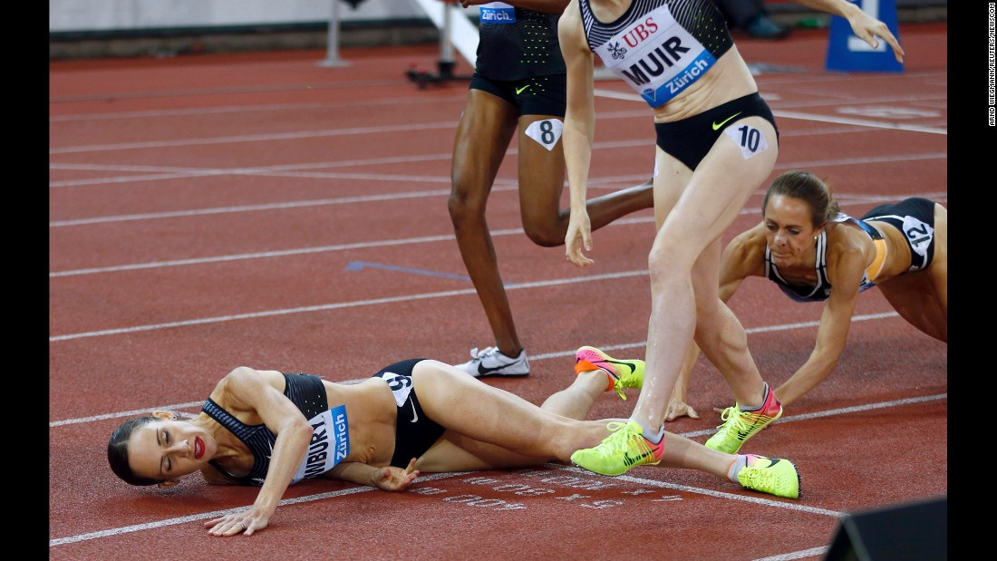 American middle-distance runner Shannon Rowbury, left, falls after winning the 1,500-meters at the IAAF Diamond League in Zurich, Switzerland, on Thursday, September 1.
