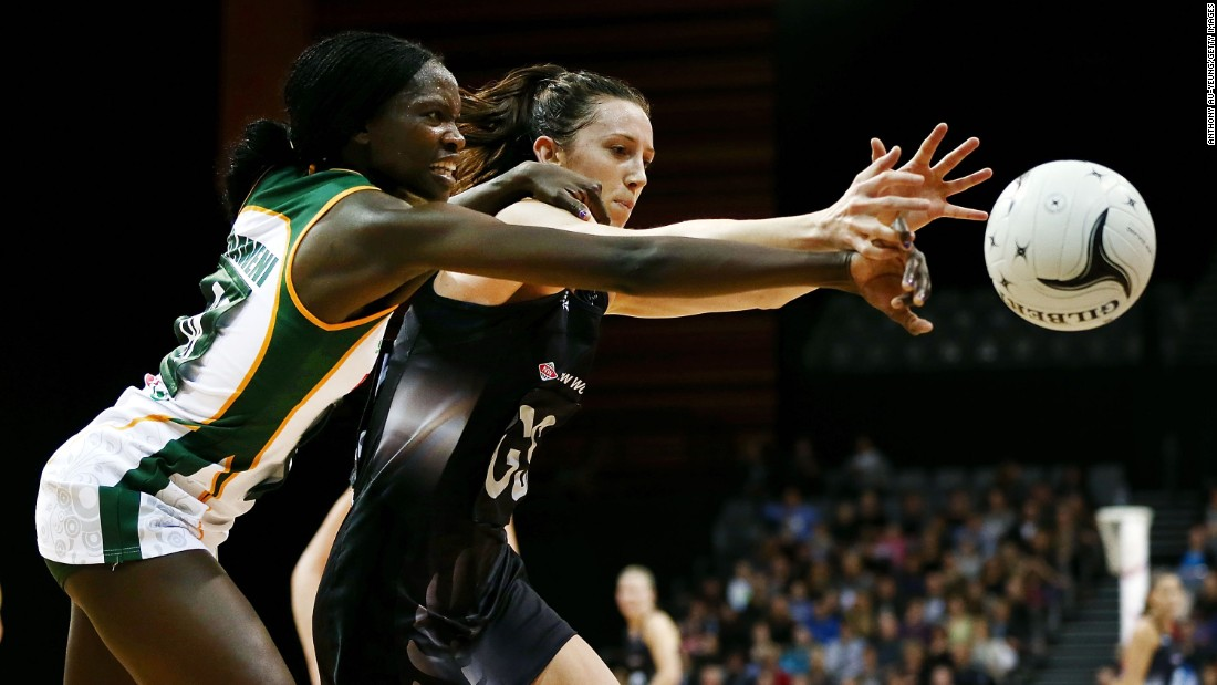 South Africa's Phumza Maweni, left, competes for the ball against New Zealand's Bailey Mes during a netball match in Hamilton, New Zealand, on Wednesday, August 31. New Zealand won by 19 goals.