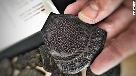 500-year-old tattoo wood block stencil of the Jerusalem Cross