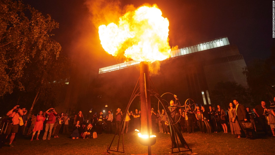 The 'Fire Garden' was on display outside London's Tate Modern museum.