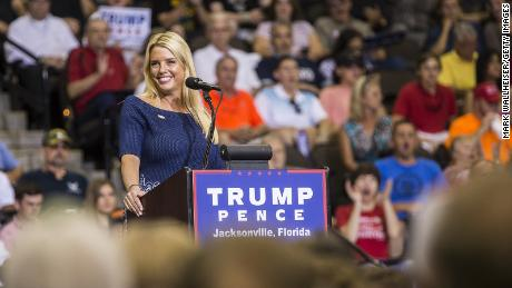 Florida Attorney General Pam Bondi speaks prior to Republican presidential nominee Donald Trump arriving on stage for a rally at the Jacksonville Veterans Memorial Arena on August 3, 2016 in Jacksonville, Florida.