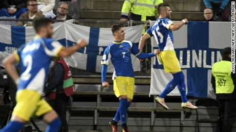 Valon Berisha scored Kosovo's first goal in World Cup qualification, in the 1-1 draw with Finland.
