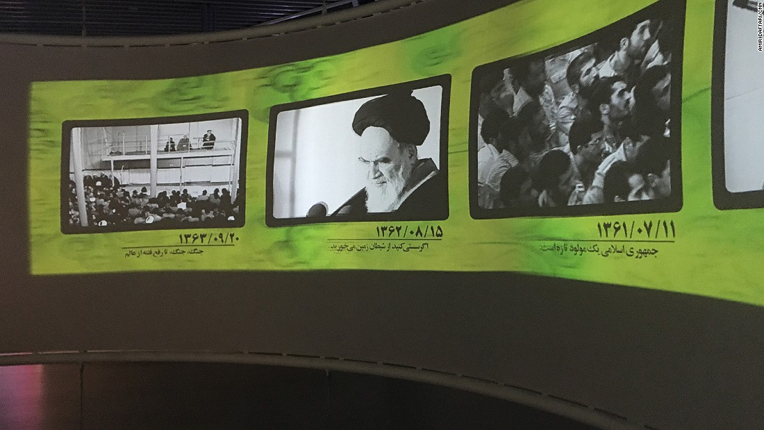 Visitors travel through a timeline of Iranian history from 1979 -- the year of the Iranian Revolution -- through to the present day.