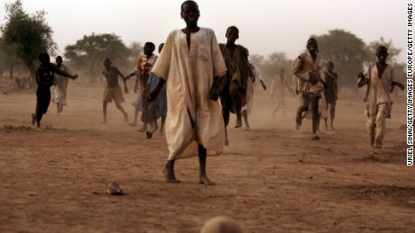 Football game in Habile refugee camp in Chad.