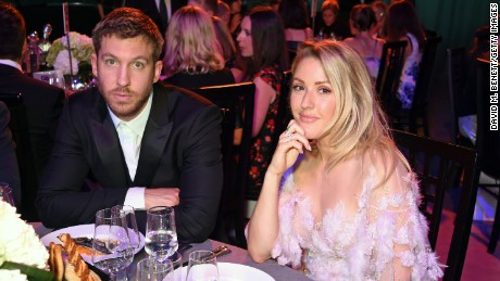 Calvin Harris and Ellie Goulding attend the 2016 GQ Men Of The Year Awards on Tuesday in London.