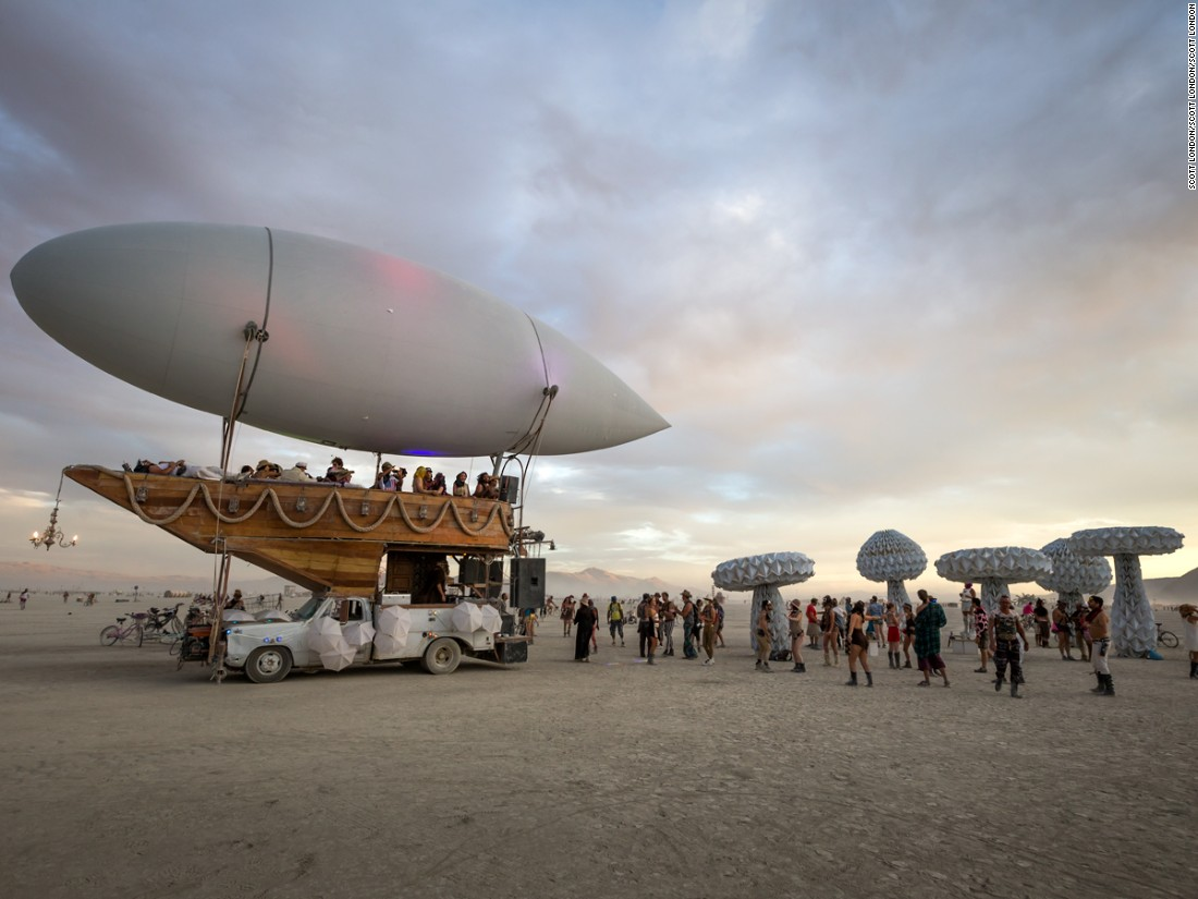 """This steampunk airship was built by the Airpusher Collective, a Bay Area theme camp. Captained by DJ Edmundo Landgraf, it doubles as a mobile sound system and venue for impromptu dance parties."""
