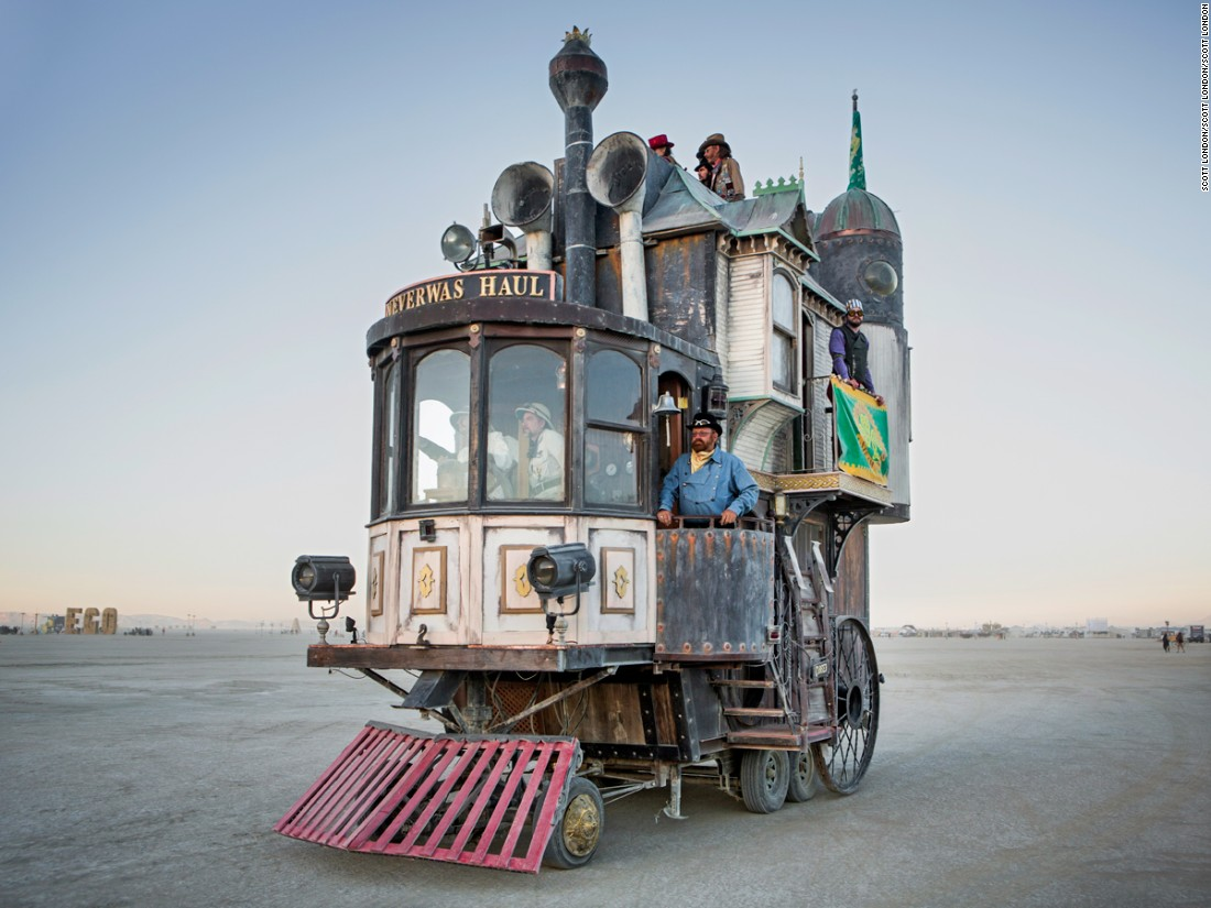 """Bay Area artist Shannon O'Hare created this three-story Victorian mansion/locomotive over a fifth wheel trailer. Over the last decade, it has become one of the best-loved art cars at Burning Man."""