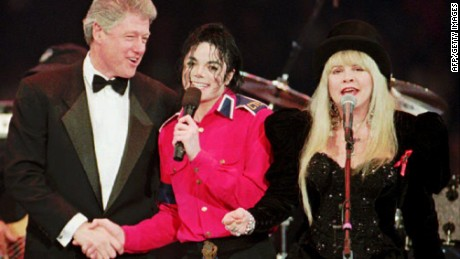 Clinton attends his iaugural ball with Michael Jackson and Stevie Nicks in Maryland on January 19, 1993.