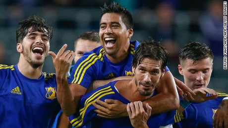 Rostov's players celebrate after winning the Champions League football match between Belgian team RSC Anderlecht and Russian team FC Rostov in Brussels, on August 3, 2016.  / AFP / Belga / BRUNO FAHY / Belgium OUT        (Photo credit should read BRUNO FAHY/AFP/Getty Images)
