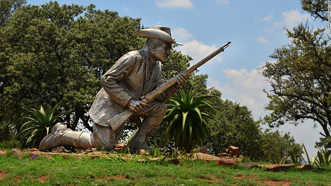 A sculpture of Danie Theron, an Afrikaner hero killed during the Boer War, stands at the entrance of Fort Schanskop, one of the four Pretoria forts that once guarded the city.