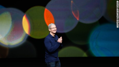 SAN FRANCISCO, CA - SEPTEMBER 07: Apple CEO Tim Cook waves as he arrives on stage during a launch event on September 7, 2016 in San Francisco, California. Apple Inc. is expected to unveil latest iterations of its smart phone, forecasted to be the iPhone 7. The tech giant is also rumored to be planning to announce an update to its Apple Watch wearable device. (Photo by Stephen Lam/Getty Images)