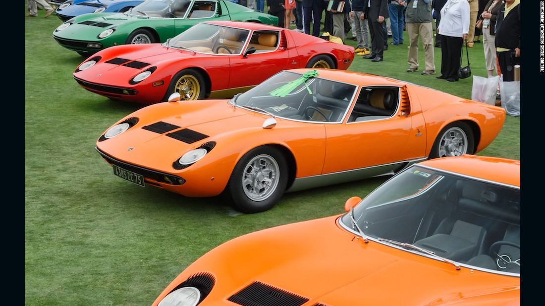 Also making an impressive showing over the weekend were a number of stunning Lamborghini Miuras, introduced 50 years ago and widely considered to be the world's first supercar.