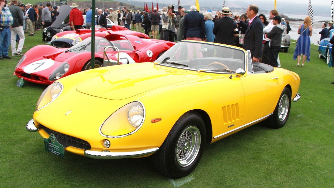 Though overshadowed by the GT40s this year, the Concours always boasts its share of fabulous Ferraris. This alluring yellow example is a 1967 275 GTS/4 Scaglietti NART Spyder.