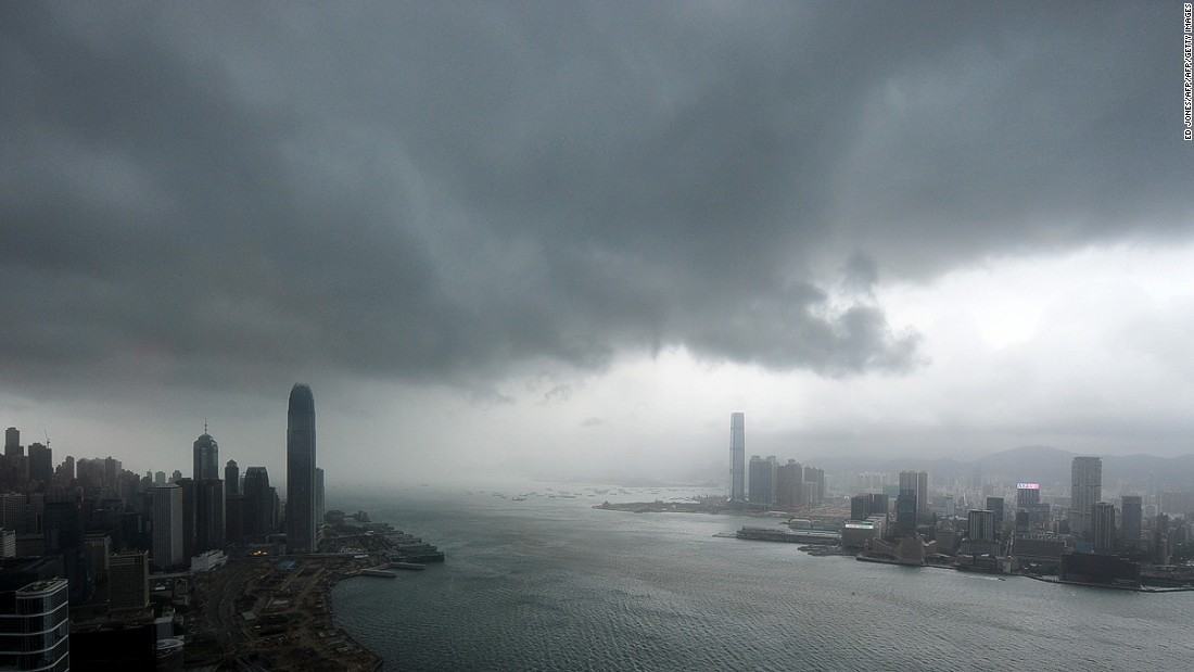 Typhoon Nesat prompts a Signal 8 typhoon warning in Hong Kong in 2011.
