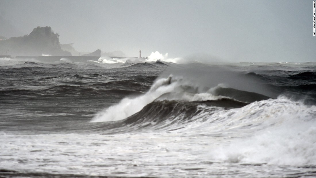 Taiwan sees stormy seas as Typhoon Goni approaches the eastern coast in 2015.