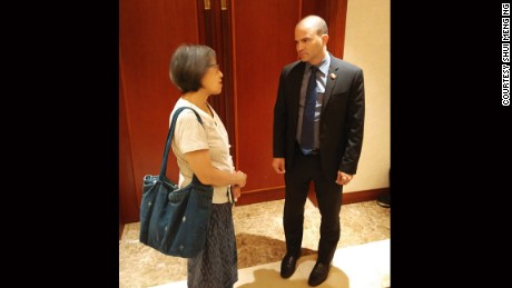 Shui Meng Ng, the wife of Sombath Somphone, who disappeared in Laos in 2012, speaking to Ben Rhodes, a top advisor to President Barack Obama.