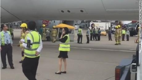 A Dragonair plane crashed into a van at Hong Kong International Airport on Thursday.