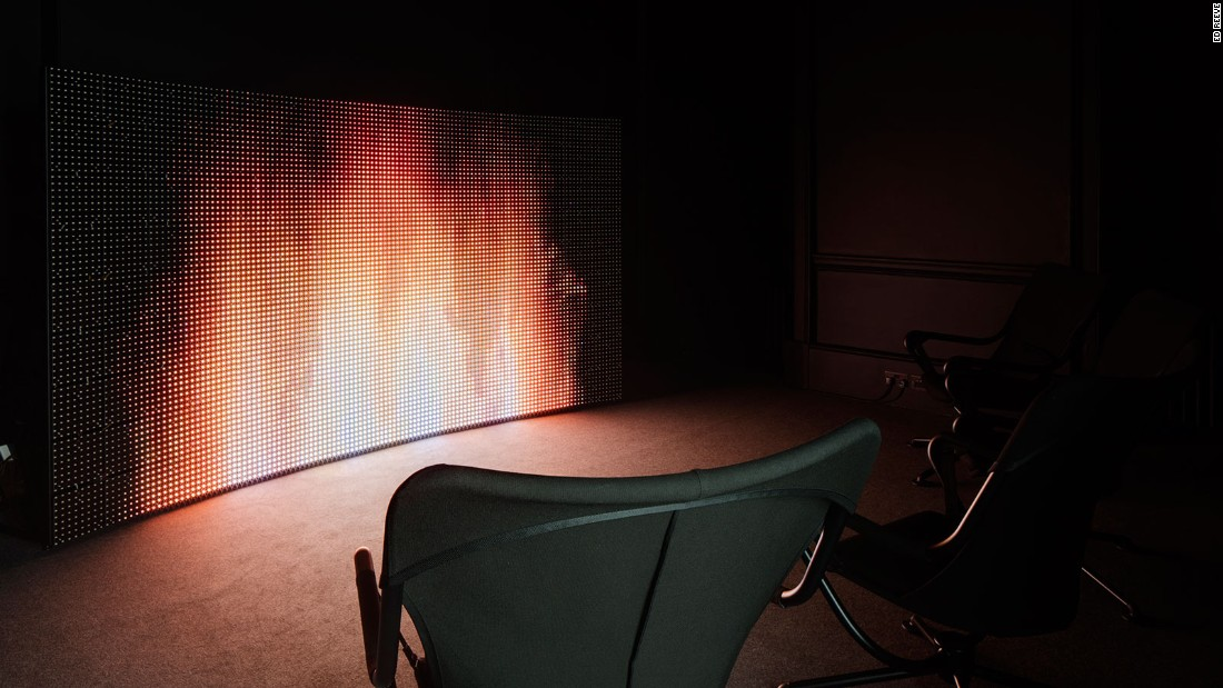 The second part of Germany's entry is a black-box room with a digital fireplace and comfy seating, encouraging visitors to sit back and reflect on their personal interpretation of utopia. <br />