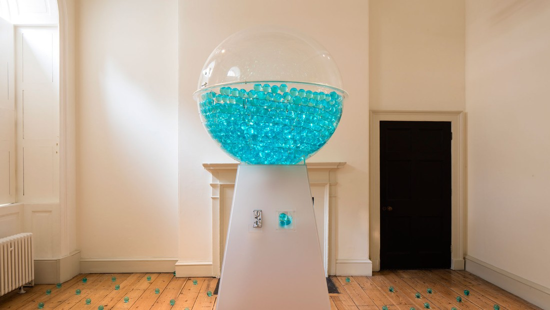 Intended to draw attention to the scarcity of water as a resource, the project invites visitors to take away one of the blue balls as a memento, or a reminder, to be a more responsible consumer of water, and beyond.  <br />