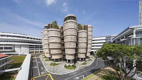 The non-hierarchical, curved design of the Learning Hub at Nanyang Technology University in Singapore  was designed to foster more collaborative learning.