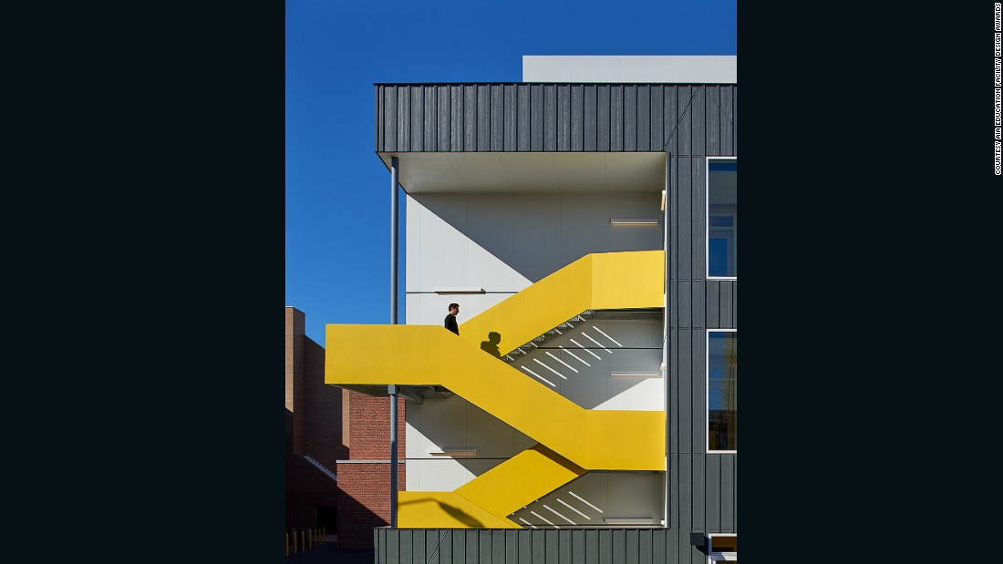 """This bilingual, sustainability-focused public charter school was granted an Award of Excellence in the AIA's 2016 Education Design Facility Awards. <br /><br />""""Within the older building, breakout nooks and cubbies are carved from the generous corridors and abandoned ventilation chases. The Pre-K annex facade is designed to be deferential to the historic school,"""" said the AIA. <br />"""