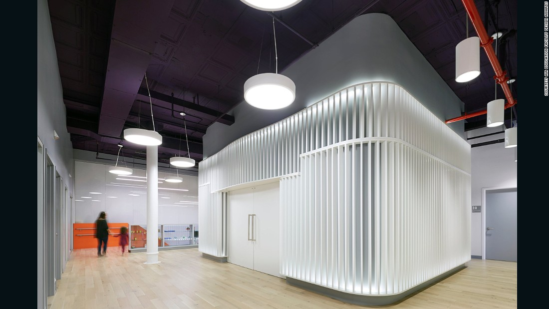 """Granted an Award of Merit in the AIA's 2016 awards, this preschool provides free special education services to underprivileged families in New York. Set in a renovated 1930s warehouse building, """"the design team's adaptive reuse of the 25,000-square-foot space presented a number of difficult challenges,"""" according to the AIA."""