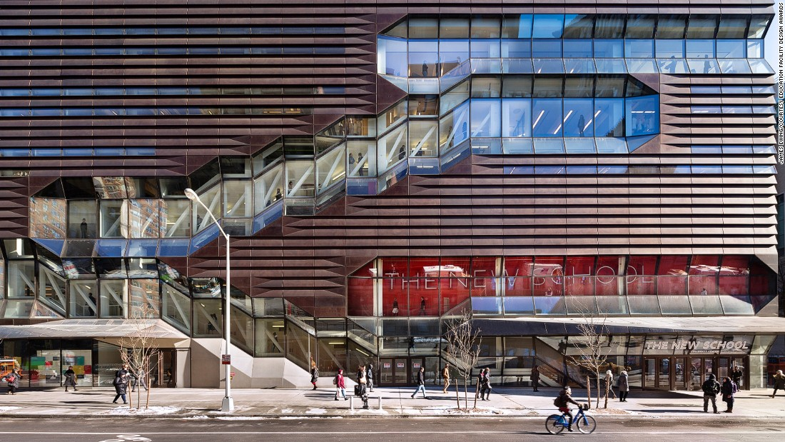 This extraordinarily complex building features a mix of multi-use spaces that include performance venues, social spaces, teaching and learning areas and student housing. The three major staircases in the base block weave through the floors, animating each street edge as they reveal student life within.