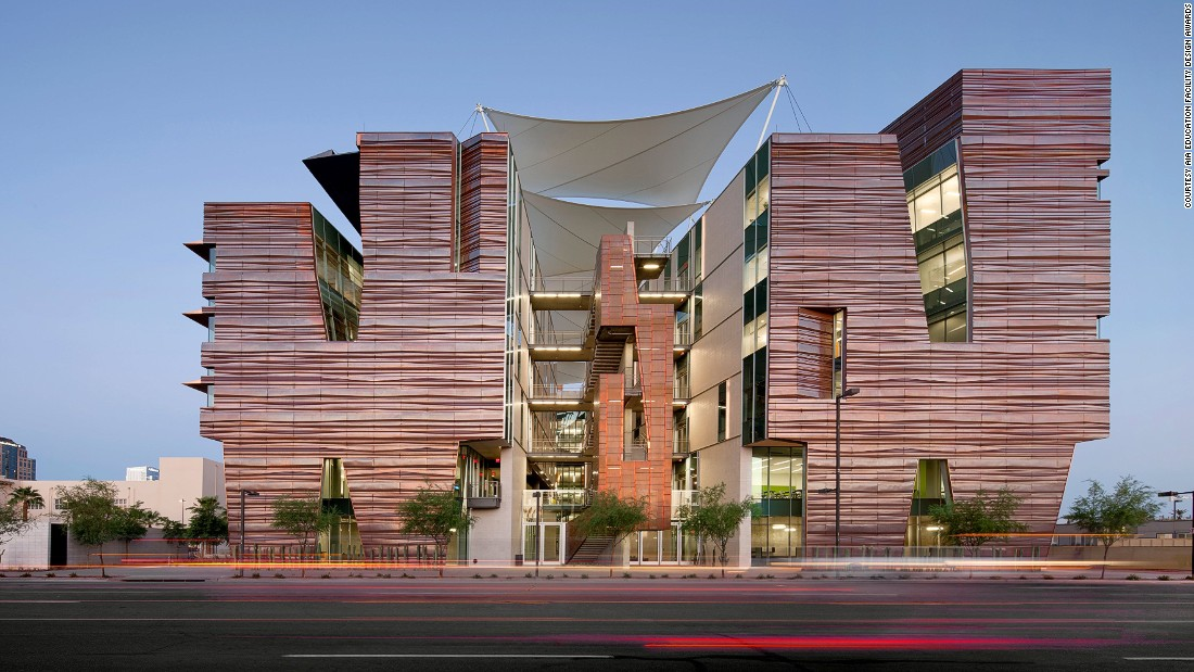 The exterior finishes were inspired by the pleated skin of the local Saguaro Cactus and the layers of Arizona's iconic canyon formations. They serve as a thermal chimney and cooling feature.