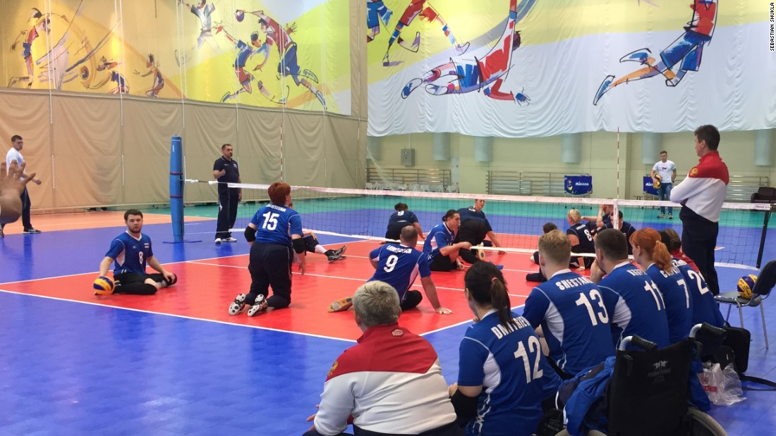 Sitting volleyball is an adaptation of the able-bodied sport, with a much smaller court and a lower net.
