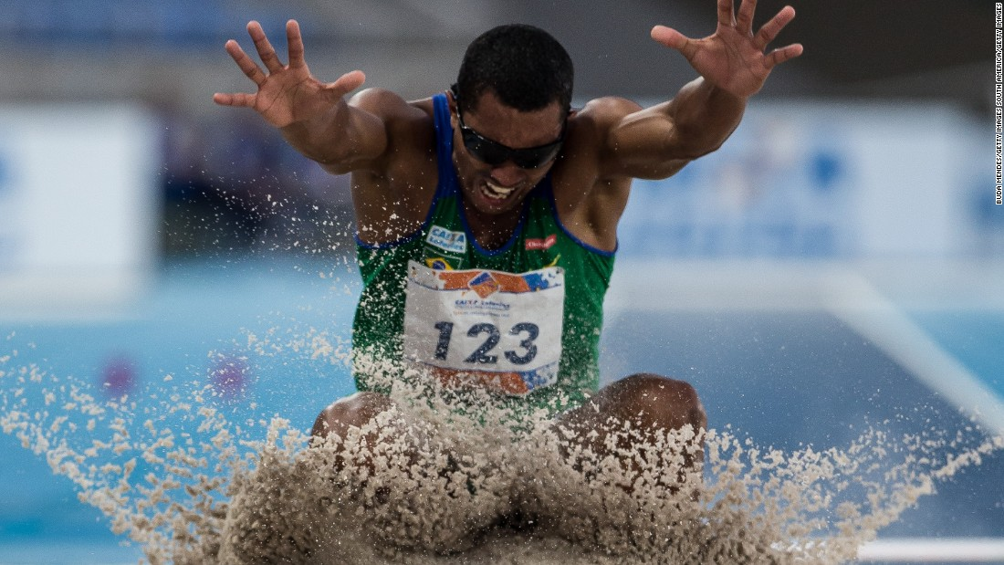 Ricardo Costa de Oliveira immediately made himself a national hero, winning host nation Brazil's first gold medal of the Paralympics in the men's long jump T11.