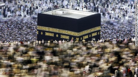 Muslim pilgrims perform the 'Tawaf' ritual around the Kaaba at Mecca's Grand Mosque before leaving the holy Saudi city at the end of the annual hajj pilgrimage on December 10, 2008. The official Saudi News Agency (SPA) reported that the most recent statistics put the total number of pilgrims this year at more than 2.4 million, almost 1.73 million from abroad and 679,000 from within the kingdom, mostly foreign residents. AFP PHOTO/KHALED DESOUKI (Photo credit should read KHALED DESOUKI/AFP/Getty Images)