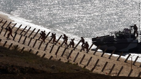 The exercises are taking place on the coast of the Black Sea in Crimea.