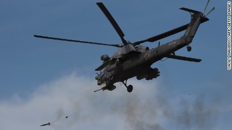 A Russian military helicopter takes part in a military exercise in Crimea.