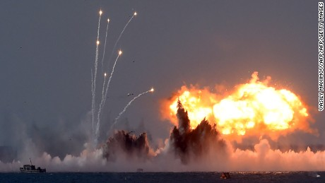 Russia's military jets and navy ships take part in a military exercise called Kavkaz (the Caucasus) 2016 at the coast of the Black Sea in Crimea on September 9, 2016. / AFP / VASILY MAXIMOV        (Photo credit should read VASILY MAXIMOV/AFP/Getty Images)