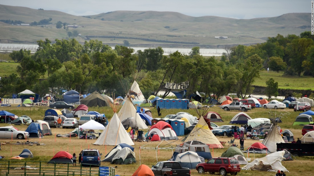 The Missouri River is seen beyond an encampment September 4, near Cannon Ball, North Dakota, where hundreds of people have gathered to join the Standing Rock Sioux Tribe's protest of the Dakota Access Pipeline.