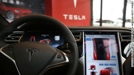NEW YORK, NY - JULY 05:  The inside of a Tesla vehicle is viewed as it sits parked in a new Tesla showroom and service center in Red Hook, Brooklyn on July 5, 2016 in New York City. The electric car company and its CEO and founder Elon Musk have come under increasing scrutiny following a crash of one of its electric cars while using the controversial autopilot service. Joshua Brown crashed and died in Florida on May 7 in a Tesla car that was operating on autopilot, which means that Brown's hands were not on the steering wheel.  (Photo by Spencer Platt/Getty Images)