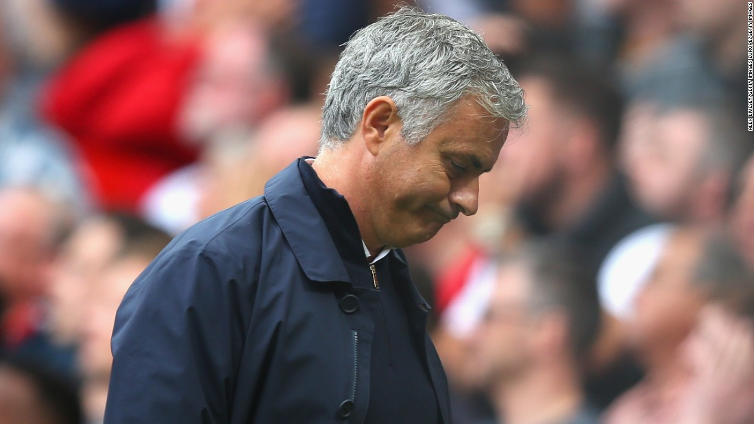 Jose Mourinho, Manager of Manchester United reacts during the Premier League match between Manchester United and Manchester City at Old Trafford on September 10, 2016 in Manchester, England.
