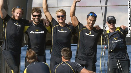 The Artemis crew celebrates its overall victory in the Toulon leg of the the Louis Vuitton America's Cup World Series.