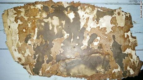 Debris piece with burn/scorch marks to both sides found at Sainte Luce, Madagascar
