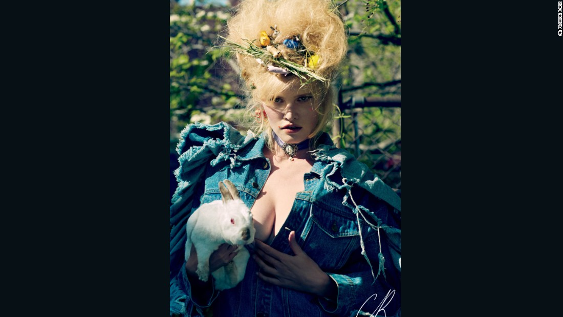 Model Lara Stone also features in the latest issue, photographed by Sebastian Faena.