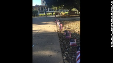 Vandals uprooted hundreds of American flags honoring victims of the September 11, 2001, attack.