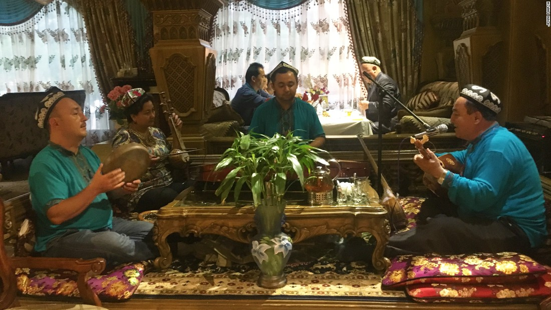 An Uyghur band perform at one of Xinjiang's many Byzantine-style restaurants.