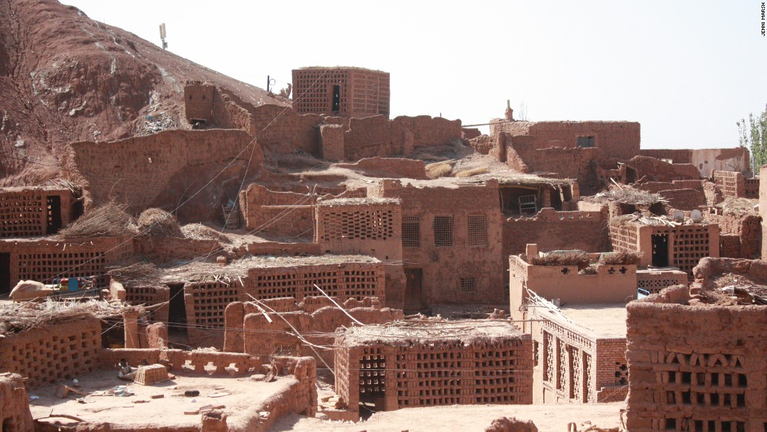 One of the last still inhabited ancient Uyghur villages, with mud homes.