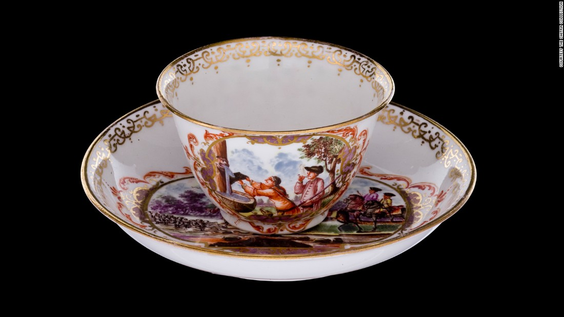 This cup and saucer are decorated with hunting scenes.