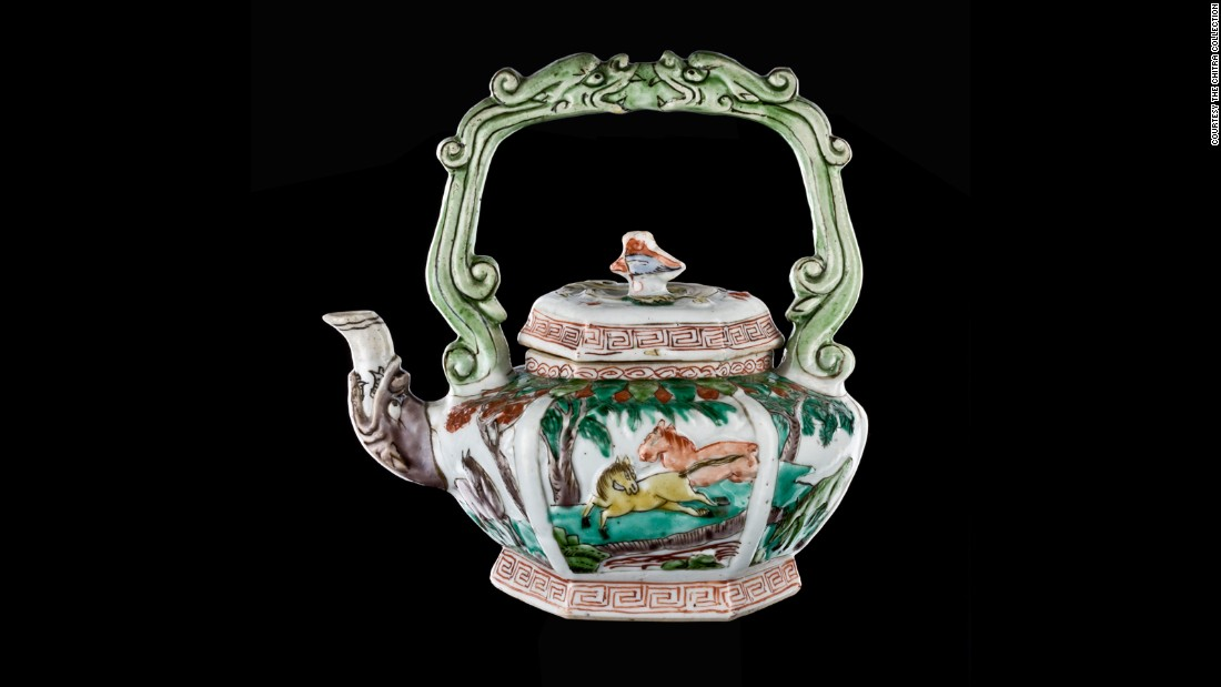 """""""Famille verte"""" (green family) was used to describe teapots using this type of green enamel. This style was commonly exported from China to the West."""