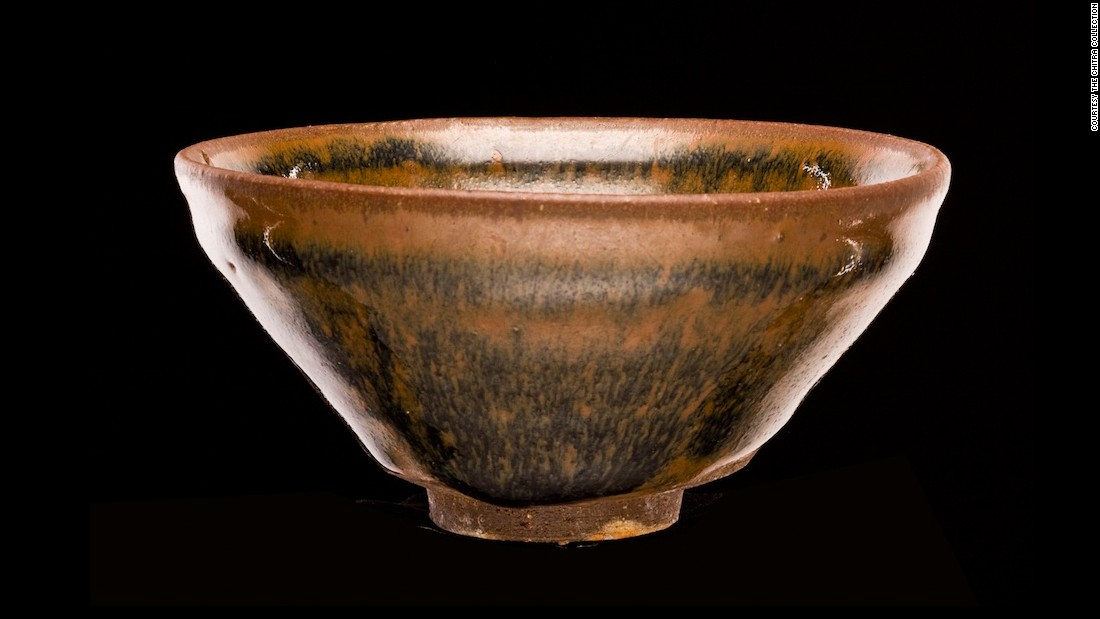 """This tea bowl was produced just as the kiln started being used across China. It's called a """"hare's fur"""" tea bowl because the glaze is said to resemble it."""