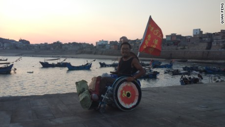 29-year-old paraplegic Chinese man Quan Peng has been travelling across China for the past two years by wheelchair.  He has so far reached 51 cities in 6 Chinese provinces.