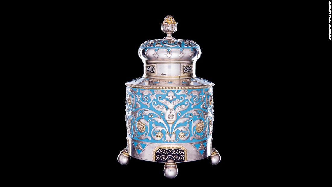 Peter Carl Fabergé is best known for his Imperial Eggs but his firm also applied the same ornate sensibility to tea containers like this one.